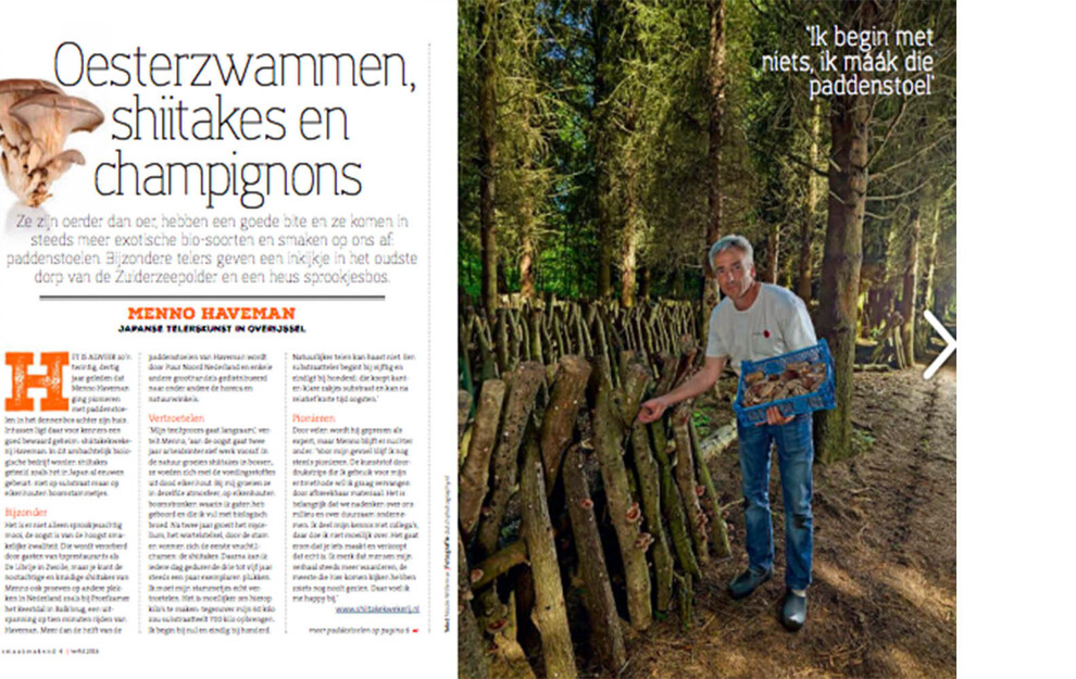 Publication Smaakmakend Magazine- Menno Haveman grower organic Shi-Takes.