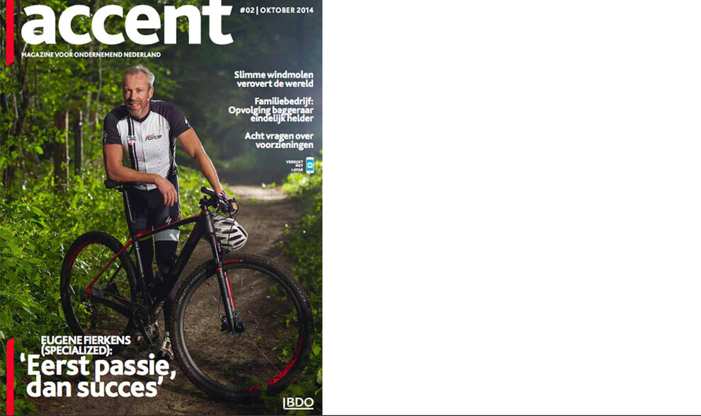 Publicatie - cover Accent Magazine - Eugene Fierkens (Managing Director Specialized Europe B.V.).